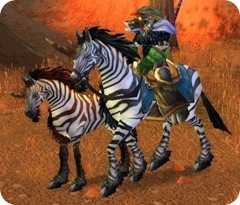 It's the closest thing to a unicorn I could find: a female tauren. On a zhevra.
